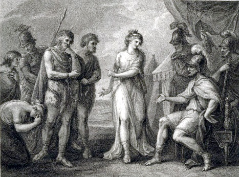 Caractacus, King of the Silures, delivered up to Ostorius, the Roman General, by Cartimandua, Queen of the Brigantes - print by F. Bartolozzi, British Museum