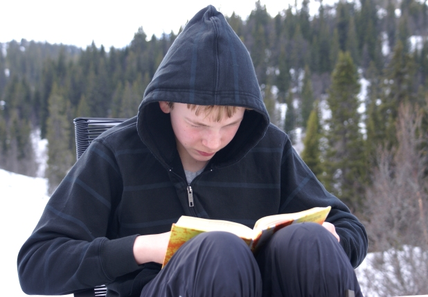 You've got them! He'll be reading that for hours, now. Source: Randi Hausken, 2009 under a Creative Commons Licence, Wikimedia Commons